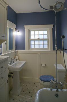Craftsman Design and Renovation of a bathroom - wainscot flat panel instead of beadboard