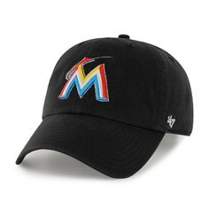 MLB Miami Marlins '47 Brand Black Basic Logo Clean Up Home Adjustable Hat