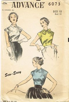 1950s Vintage Advance Sewing Pattern 6073 Cute Sew Easy Misses Blouse Sz 30  B  Advance abccbbaec