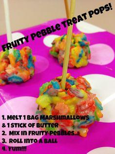 DIY Kids Fruity Pebble Cereal Rainbow Marshmallow Treat Lollipops #fruitypebbles #kidscooking #cereal #lollipops #cakepop #rainbow