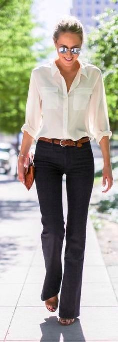 #casual #outfits #street #style #fashion #inspiration   White on Black black pants jeans skinny white button up oxford shirt blouse brown belt