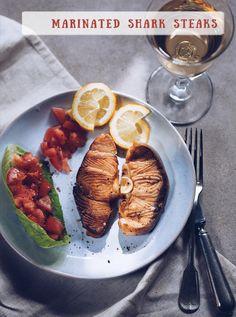 Marinated shark steaks recipe Shark Steak, Fish Dishes, Avocado Egg, Steak Recipes, Steaks, Grill Pan, Vegetarian Recipes, Grilling, Culture