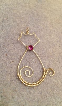 Wire wrapped cat pendant