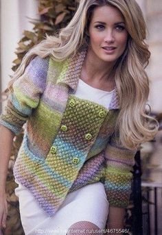 This is beautiful - wish I was this talented! Double Breasted Jacket in Noro Silk Garden Lite, Black Sheep Wools , Black Sheep Wools Knitting Books, Knitting Stitches, Knitting Patterns, Double Breasted Jacket, Knit Fashion, Knit Or Crochet, Pulls, Knitwear, Creations