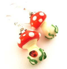 Toadstool earrings  glass lampwork earrings  by Myhappyhobby