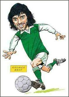 George Best of Hibernian in cartoon mode. Hibernian Fc, Liverpool Fans, European Cup, Vintage Football, Football Players, Manchester United, Besties, The Past, Sports