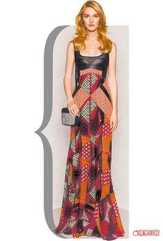DVF皮革拼絲質針織連身裙強調衝突美感。