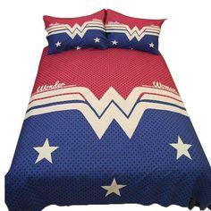 3Pcs Wonder Woman Bedding Set King Queen Size Hotel Ww Bed Set Stars Duvet Cover Pillow Shams