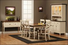 Albany Dining Collection features a Sawmill Rustic Cherry top with a Brown Maple base in a Country White paint with a Soft Glaze. Very French Country!  Gish's Amish Legacies offers a vareity of custom options!