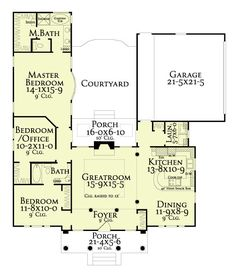 U Shaped House Plans with Central Courtyard change left wing to 2
