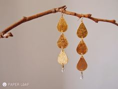 Light Rain | paper earrings | cotton paper, imitation Gold Metal Leaf and glass drop | Paper Leaf