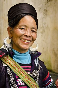 Lovely Smile. A cheerful Black Hmong lady in Sapa, a mountain town in north west Vietnam, Lao Cai province, close to the border with China..