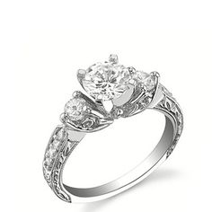 Finetresor.com 1.00Carat Round Diamond Three Stone Engagement Ring on 14K White Gold
