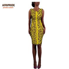 2017 african style dress for women AFRIPRIDE private custom sleeveless O-neck knee-length casual women patchwork dress A722583
