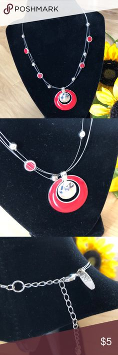 Pendant Necklace Orange/red colored pendant with silver circle.  Thin silver wire like chain. Adjustable. From NY and Co.   Clean smoke free and pet free home! New York & Company Jewelry Necklaces
