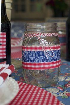Designer Duct Tape Mason Jar for 4th of July