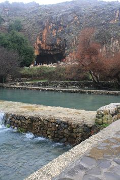 Temple of Pan, Caesarea Philippi, Israel. Panias is a spring, also known as Banias, named for Pan, the Greek god of desolate places. (V)