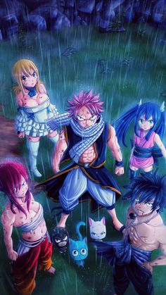 Anime Fairy Tail Erza Scarlet Wendy Marvell Rain Manga Lucy Heartfilia Natsu Dragneel Gray Fullbuster Mobile Wallpaper