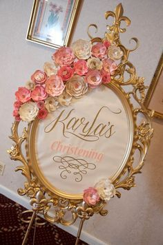 Welcome sign at a vintage romantic baptism party! See more party planning ideas… Fiesta Shower, Shower Party, Bridal Shower, Baby Shower Princess, Princess Party, Pink Und Gold, Blush Pink, Christening Frames, Girl Birthday