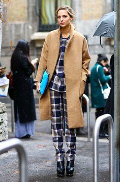 camel coat + tartan