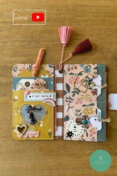 Papel Scrapbook, Scrapbook Paper Crafts, Scrapbook Cards, Mini Albums Scrap, Mini Scrapbook Albums, Crate Paper, Drawing Journal, Ideias Diy, Bookbinding