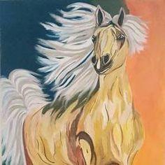 The golden horse by Puneet Kaur Horse Paintings, Wildlife Paintings, Artwork Online, Online Painting, Golden Horse, Indian Artist, Horses, Handmade, Animals