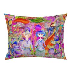 LARGE WHIMSICAL WONDERLAND GARDEN VELVET EFFECT on Campine by paysmage   Roostery Home Decor Pillow Shams, Pillows, Spoonflower, Backdrops, Pillow Covers, Whimsical, Wonderland, Bedding, Fabrics
