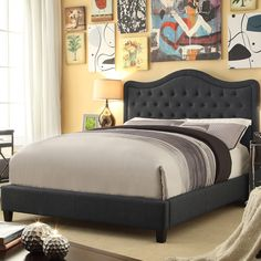 Charcoal cathedral tufted bed