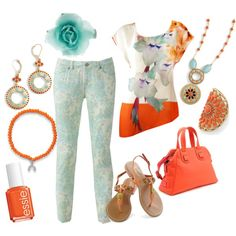 """Orange, Sky blue, and lia sophia"" by jade-illeck on Polyvore Jewelry by lia sophia www.liasophia.com/beverlytredray bbtLia10@gmail.com"