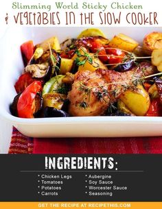 Slimming World Recipes | Slimming World Sticky Chicken & Vegetables In The Slow Cooker recipe from RecipeThis.com