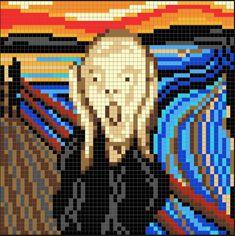 Edvard Munch's The Scream Perler Bead Pixel Pattern – Pixel Art Shop - Minecraft Cross Stitch Art, Cross Stitch Designs, Cross Stitching, Cross Stitch Embroidery, Cross Stitch Patterns, Pixel Art Kawaii, Anime Pixel Art, Minecraft Meme, Minecraft Pixel Art