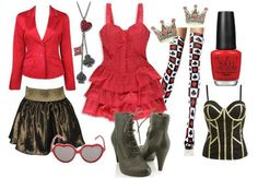 The Red Queen inspired outfit from Tim Burton's Alice in Wonderland