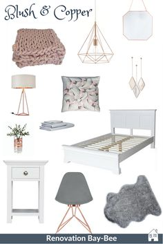 Blush and Copper Bedroom Design - Renovation Bay-Bee - A blush and copper mood board for your bedroom. Blush and copper go beautifully together, and come - Bedroom Colors And Moods, Bedroom Colour Schemes Neutral, Pink Bedroom Decor, Gold Bedroom, Bedroom Ideas, Design Bedroom, Copper Bedroom Decor, Bedroom Neutral, Pretty Bedroom