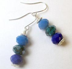 Triple Blues Czech dangle earrings blue glass by beadwizzard