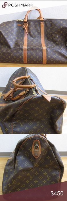 "Louis Vuitton 55"" keepall duffle bag Great weekend bag or business travel bag. Classic Louis Vuitton monogram and wonderful leather. 100 % authentic. To be honest I hate to see it go but I want someone to use it more than once a year, unfortunately I am to busy to take this awesome piece of luggage on the amount of trips it deserves. Any more questions contact me on my instagram @terdmalone Louis Vuitton Bags Duffel Bags"