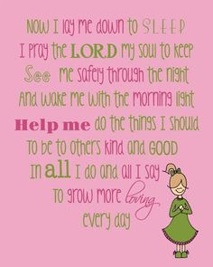 Prayer Now I Lay Me Down To Sleep Poem Saying Quote with Girl Praying Instant… Childrens Bedtime Prayer, Bedtime Prayers For Kids, Prayers For Children, Prayer Poems, God Prayer, Nighttime Prayer, Good Night Prayer, Prays The Lord, Lay Me Down