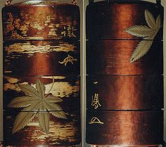 Case (Inrō) with Design of Maple Leaves beside Inscriptions. Kajikawa School. 19th century