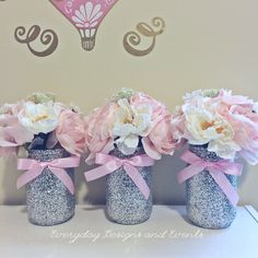 3 pink and silver mason jars pink baby shower bridal shower Baby Girl Shower Themes, Baby Shower Table, Girl Baby Shower Decorations, Baby Shower Princess, Baby Shower Centerpieces, Birthday Decorations, Baby Boy Shower, Baby Shower Gifts, Wedding Centerpieces