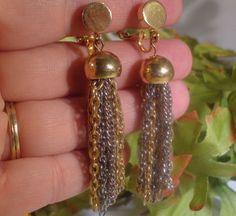 VTG Designer Tassel Earrings Dangle Multi Tone Costume Jewelry Sarah Coventry ?? #SarahCoventry #DangleVTGDesignerTasselDropCostumeJewelry