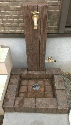 Backyard landscaping - Timber effect concrete paving units used to make a rot pr. - Backyard landscaping – Timber effect concrete paving units used to make a rot proof tap support a - Backyard Projects, Outdoor Projects, Backyard Patio, Garden Projects, Backyard Landscaping, Hydrangea Landscaping, Landscaping Ideas, Garden Tips, Garden Paths