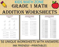 Excited to share this item from my shop: Grade 1 Math Addition Worksheets Worksheets with answers) pdf/ Kinder, Grade Year practice/Math Kids/ Printable Math Addition Worksheets, Printable Math Worksheets, 1st Grade Worksheets, School Worksheets, 1st Grade Math, Worksheets For Kids, Kindergarten Worksheets, Grade 1, Math 5