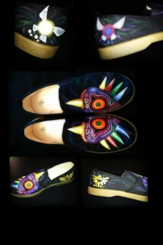 Legend of Zelda Majoras Mask shoes hand painted one of a kind via Etsy Cute Shoes, Me Too Shoes, Majora Mask, Estilo Geek, Vanz, Shoe Crafts, Things To Buy, Stuff To Buy, Hand Painted Shoes