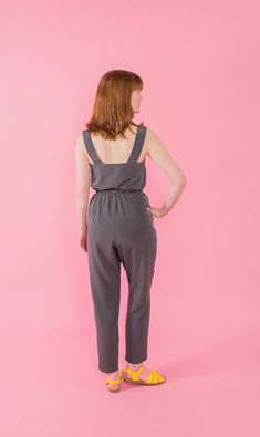 MARIGOLD JUMPSUIT + TROUSERS - DIGITAL - sewing pattern by Tilly and the Buttons   SEW A STYLISH JUMPSUIT OR CASUAL TROUSERS The peg trousers are easy-fitting at the hips, with an elasticated waistband, gentle shaping with pleats and darts, tapered ankles, and slash pockets for nonchalant slouching. The jumpsuit bodice has a sweetheart neckline, bust darts, blousy waist, wide (bra-concealing!) shoulder straps, closing with an invisible zip at the side.