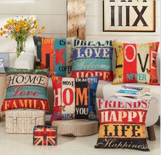 US Letter Home Family Hope Linen Pillow Cover Happy Live Love Rustic Throw Cushions Cover Pillow Case Bed Pillow 45cmx45cm B40 #Affiliate