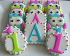 Look Whoo's One First Birthday Owl Decorated Sugar Cookies by Dolce
