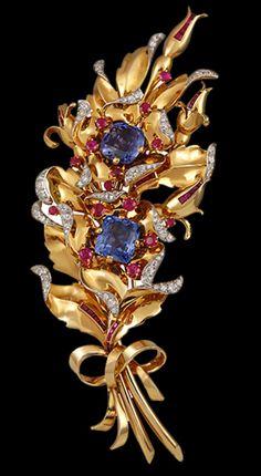 Yafa Jewelry - VAN CLEEF & ARPELS Retro Diamond, Ruby, Sapphire Pin