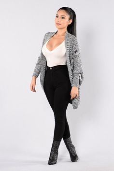 Needed Me Cardigan - Black/White – Fashion Nova Cute Work Outfits, Girly Outfits, Cute Casual Outfits, Chic Outfits, Fashion Outfits, Girls Fashion Clothes, Teen Fashion, Black White Fashion, Jeans