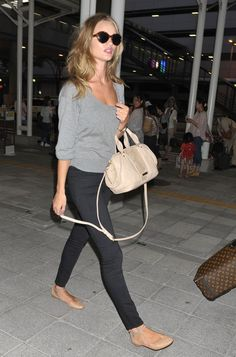 Rosie Huntington-Whiteley Casual Style in Ballet Flats : Skinnies + Grey Sweater + Nude Accessories