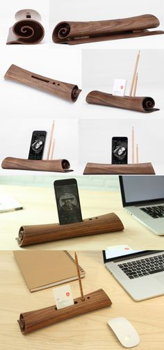 A Black Walnut Wooden Pen Pencil Holder Stand iPhone Cell Phone Speaker Sound Amplifier iPhone SmartPhone Holder Stand Mount Business Card Display Holder for iPhone and Other Cell Phone Wooden Speaker Stands, Wooden Speakers, Diy Speakers, Wood Crafts, Diy And Crafts, Phone Sounds, Business Card Displays, Smartphone Holder, Speaker Design