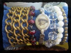 Assemblage Mixed Media Watch Resin Brass Czech Beads Mother of Pearl by Ferd and Bird Jewelry